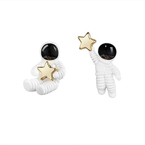VVXXMO 1 par de pendientes de cielo estrellado bonitos para mujer, perno de astronauta asimétrico de estrella espacial, pendientes de joyería, regalo