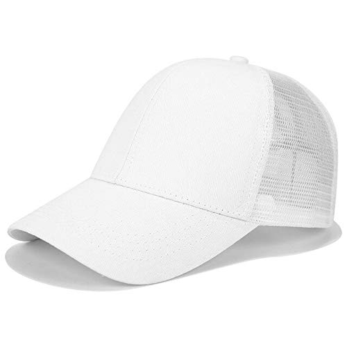 Glitter Ponytail Baseball Cap Women Snapback Dad Hat Mesh Trucker Caps Messy Bun Summer Hat Female Adjustable Hip Hop Hats - Plain White,NO Logo