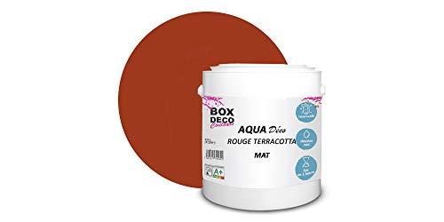 Peinture acrylique aspect mat Aqua déco - Murale - 44 couleurs - 2,5 L - 25 m² (Rouge Terracotta)