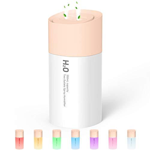 Mini Luftbefeuchter, 350ML USB Luftbefeuchter mit Doppelspray, 7 Bunte LED-Leuchten, 3 Einstellbare Nebelmodi, Leiser und 3-stündiger Automatischer Ausschaltvorgang, Luftbefeuchter für Büro (Rosa)