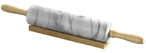 Creative Home White Marble Rolling Pin with Wooden Cradle