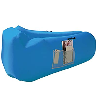 Honsky Inflatable Couch Lounger with Pillow: Cool Waterproof Anti-Air Leaking Air Sofa, Blow up Chair Hammock for Outdoor Camping Beach, Blue