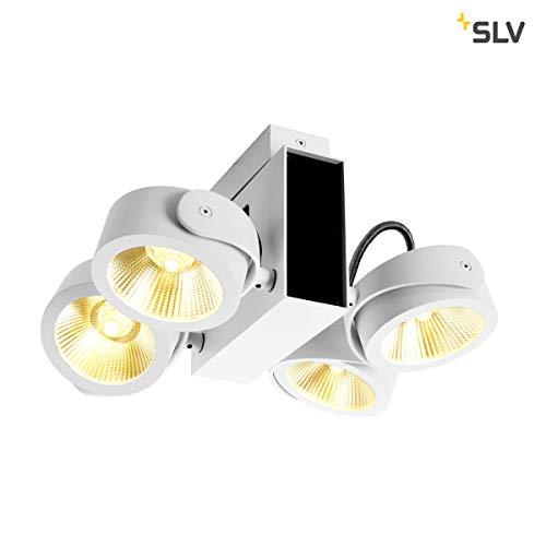 SLV TEC KALU CW, LED Indoor Wand-und Deckenaufbauleuchte, Quad weiß/schwarz 60° 3000K Leuchte, Aluminium, W
