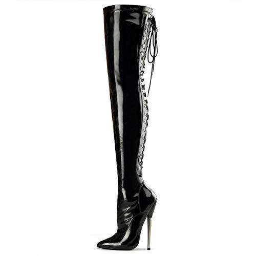 Higher-Heels Devious Overkneestiefel Dagger-3063 Lack schwarz 40