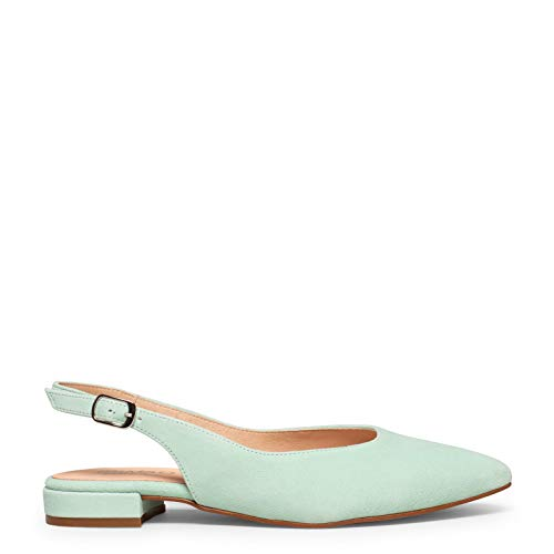 Zapatos miMaO. Zapatos de Mujer Hechos en España. Zapato Destalonado Plano de Ante Tecnología del Confort