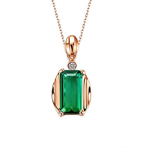 KnBob 18K Rosa Gold Halskette für Damen Retro Grünes Rechteck 1CT Turmalin mit Weiß Runde 0.01CT Diamant Charm Halskette Anhänger 45CM