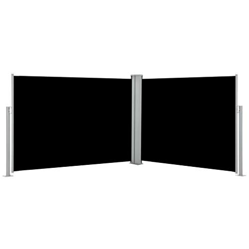 pedkit Seitenmarkise - Ausziehbarer auf 1000 cm Doppelseitiger Sichtschutz Markise, Automatischen Rückrollfunktion, Doppelseitenmarkise Seitenrollo, Schwarz