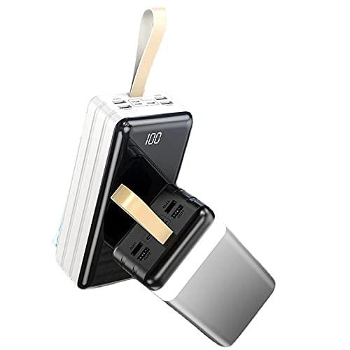 AEU 60000mAh Powerbank Batería Externa Tipo C Micro USB Slim Cargador Portátil Móvil con 4 Puertos Smart E Salidas y 3 Entradas Compatible con Huawei y Smartphone,Blanco
