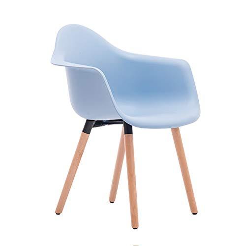 JIEER-C vrijetijdsstoelen bureaustoel massief houten rugleuning stoel computerstoel eenvoudige bureaustoel vrijetijds-koffiestoel duurzaam sterk lichtblauw