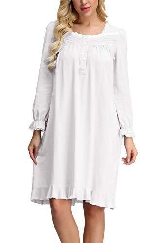 Zexxxy Nachthemd Damen Victorian Langarm Rundhalsausschnitt Baumwolle Schlaf Kleid Weiß S