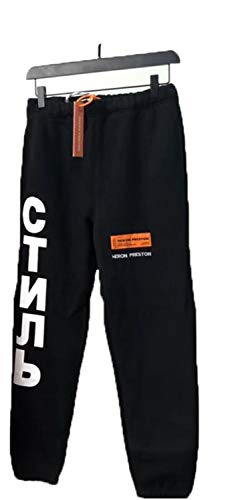 MASCHERANO Heron Preston Printed Logo Embroidery Elastic Waist Women Men Jogger Pants Black S