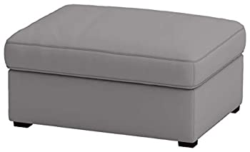The Heavy and Durable Cotton Kivik Footstool Cover Replacement is Custom Made for IKEA Kivik Ottoman Slipcover  Light Gray