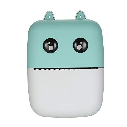 EXCLVEA Pocket Printer Pocket Thermal Printer 58mm Wireless BT Printer 300dpi With 1 Roll Thermal Paper for Study Notes Photos Printing (Color : Green, Size : 10.9 * 7.9 * 3.8cm)
