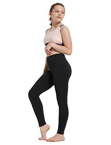BALEAF Youth Girl's Athletic Dance Leggings Compression Pants Running Active Yoga Tights with Back Pocket Black M
