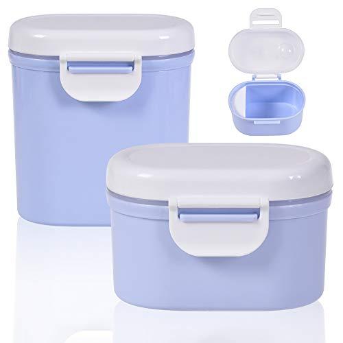 CYSJ 2 pezzi Dispenser per Latte in Polvere per Neonati, Baby Scatola per Latte in Polvere Formula Dispenser Portatile di plastica Scatola Metallica per Picnic Viaggio (Blue)