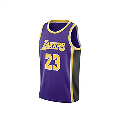 Jersey Lakers No.23 Lebron James Camisa de Baloncesto Retro Summer Baloncesto Uniforme Bordado Masculino Top Baloncesto Traje,Púrpura,3XL