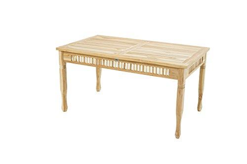 Ploß Gartentisch New Orleans Eco 150 x 90 cm - Teakholz-Tisch mit SVLK-Zertifikat - Terrassentisch für 4 bis 6 Personen - Garten-Esstisch Braun - Außenmöbel mit polierter Oberfläche
