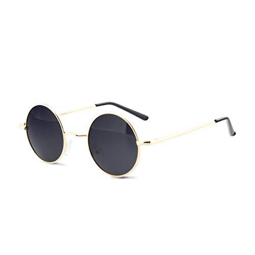 DUDUKING Occhiali da Sole Retro Uomo e Donna Lennon Rotondi Polarizzati in Metallo con Protezione UV400 (Oro Nero)
