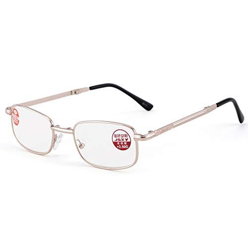 Reading glasses Gafas de Lectura Plegables, Gafas Antideslizantes de Resina asférica de luz Azul con película Azul Claro, Montura de aleación de Aluminio para un Uso cómodo (+ 1.00- + 3.50) de Oro