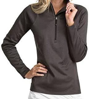 Antigua Ladies Shield Pullover Black Heather Large