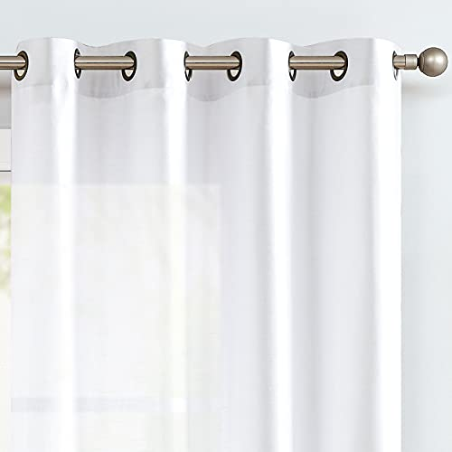 White Faux Silk Curtains for Bedroom Dupioni Light Reducing Window Curtain for Living Room Satin Drapes Privacy Window Treatments Grommet Top 84 inch Long 2 Panels