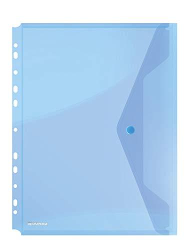 DONAU-Kuvertmappe mit Klammer 8540001PL-10 Blau, Dokumententasche zum Abheften Dokumentenmappe/ Sammelmappe Eurolochung zum Abheften Transparent für Schule Büro Qualität PP öko/Kunststoff Plastik