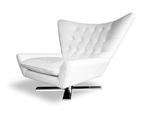 NEUERRAUM Drehbarer V-förmiger Echtleder Ohrensessel Fernsehsessel Armlehnsessel Lounge Sessel. Abbildung in Leder Weiß