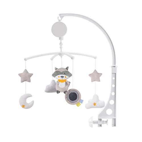 NUOBESTY Babybett Mobile elektrische rotierenden Waschbären Cartoon Nachttischglocke Schlafen Spielzeug hängende Glocke für Neugeborene Baby Kleinkind Lieferungen (Keine Batterie)