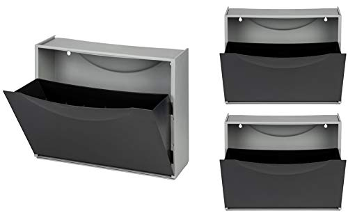 Kreher XL Schuhschrank aus Kunststoff in Schwarz. Drei Schuhkipper für insgesamt ca. 9 Paar Schuhe. Erweiterbar, abwaschbar, robust, multifunktional.