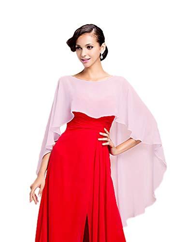 CoCogirls Chiffon Stola Schal für Kleider in verschiedenen Farben zu jedem Brautkleid - Abendkleid, Hochzeit Abend Gala Empfang (One-Size, Pink)