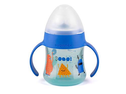 Suavinex - Biberón con asas First Booo 150ml. boquilla antiderrame de silicona. diseño ergonómico. Biberón bebé +4 meses, color Azul