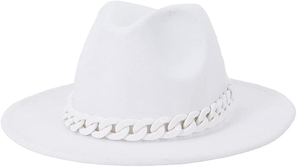 Women Vintage Wide Brim Fedora Hat with Chain Belt Felt Panama Hat