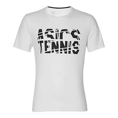 ASICS Ropa de Tenis de Manga Corta para Hombre - Blanco -...