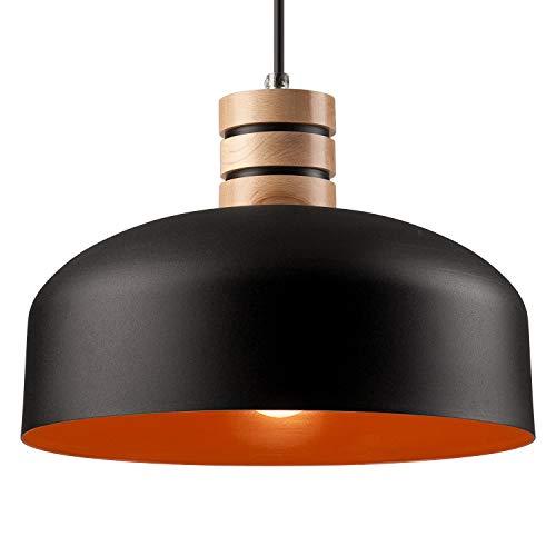 Pendel-Leuchte Decken-Leuchte aus Metall/Holz E27 Hänge-Leuchte (Farbe: Schwarz/Orange) Vintage Industrieleuchte Wohnzimmerlampe Modern Wohnzimmer mit Kabel Vintagelampe für Wohnzimmer/Küche/Büro