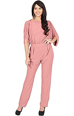 KOH KOH Womens Short Sleeve Sexy Formal Cocktail Casual Cute Long Pants One Piece Fall Pockets Dressy Jumpsuit Romper Long Leg Pant Suit Suits Outfit Playsuit, Light Pink M 8-10