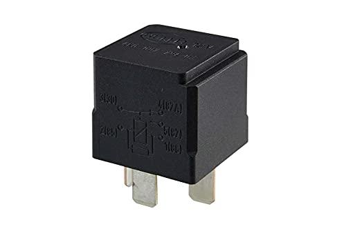 HELLA 4RD 007 794-021 Relais, contrôle de démarrage à froid - 12V - 5pôle - Schéma de câblage: W2 - Fiche: B1 - Ouvreur/Relais à courant de travail/Relais inverseurs - Couleur: noir - sans fixation