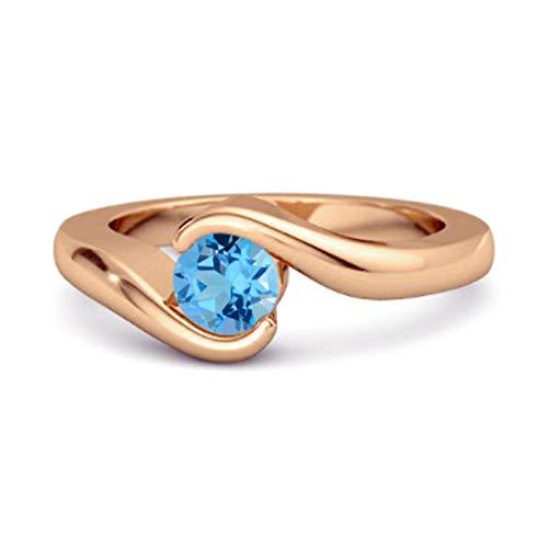 Shine Jewel Multi Elija su Piedra Preciosa Oceano Ola Anillo De Bodas De Plata De Ley 925 De 0.10 Ctw Chapado En Oro Rosa para Mujer (13, topacio Azul Suizo)