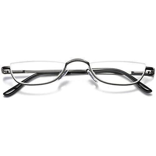VEVESMUNDO Lesebrille Metall Halbrandbrille Klassische Schmal Federscharnier Arbeitsplatzbrille Lesehilfe Sehhilfe mit sehstärke für Damen und Herren (1 Stück Grau, 2.5)