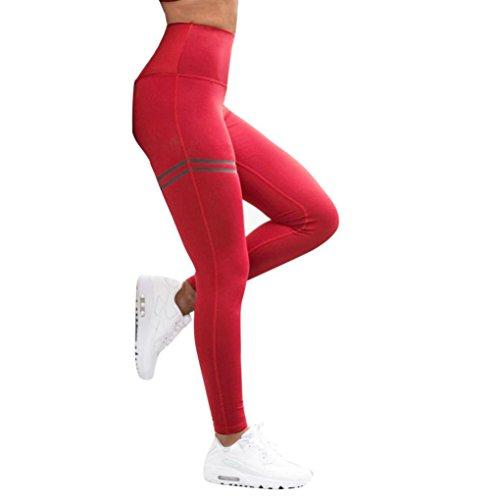 Homebaby Leggings Sportivi Donna Push Up - Eleganti Leggings Sport Opaco Yoga Fitness Spandex Palestra Pantaloni Leggins - Pantaloni Tuta Donna (M, Rosso)