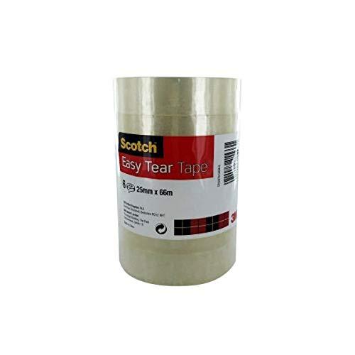 Scotch Easy Tear Transparent Tape 25mmx66m Ref ET2566T6 [Pack 6]