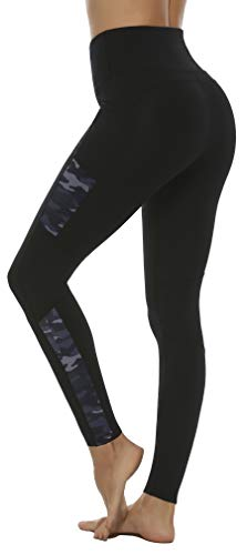 Persit Women's Yoga Pants, High Waisted Leggings with Pockets Workout Exercise Leggings Black/Camo