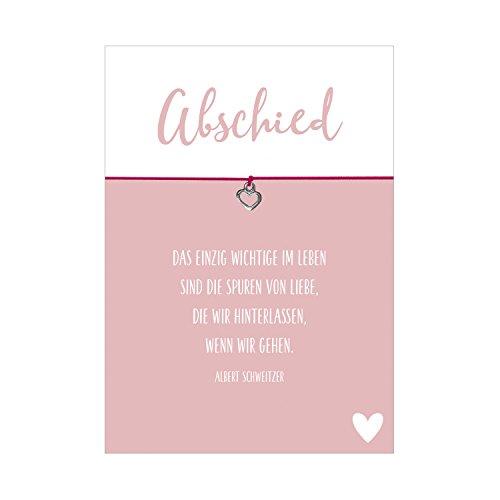 Glücksschmiedin Wunscharmband Trauer und Trost Abschied mit Herz Anhänger versilbert, elastischem Textilband in pink und liebevoller Karte