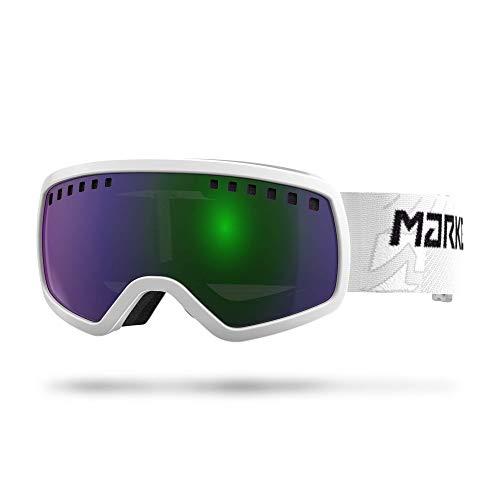 Marker Unisex Jugend 4:3 White w/Green Screen Mirror Skibrille, Einheitsgröße
