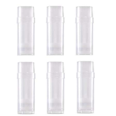 Empty Deodorant Containers Round (2.2oz, Pack of 6) - BPA Free Clear Plastic, Small Size Great for Carry-On Travel, DIY Make Your Own Deodorant, Lip Balm, Lotion Bar, Moisturizer, Heel Balm, Sunscreen