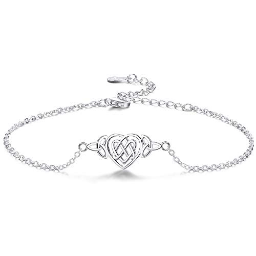 Sllaiss Beach Anklets for Women Sterling Silver Lucky Love Knot Anklet Bracelet Adustable Chain Hallow Irish Triquetra Celtic Knot 925 Summer Heart Ankle 8.7'' +2''