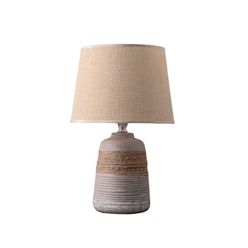 Hogreat Table Lamp Ceramic Table Lamp Table Light, Nordic Modern Creative Fashion Art Decorative Bedside Table Lamp with Fabric and Linen Twine for Living Room and Bedroom