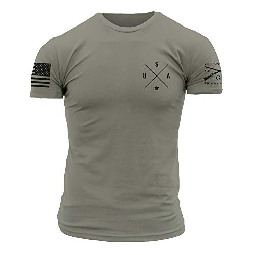 Grunt Style Basic Simple USA - Men's T-Shirt (Warm Grey, X-Large)