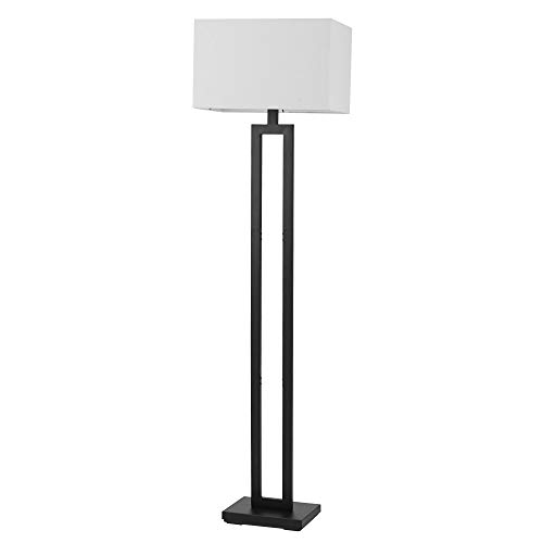 Globe Electric 67046 D'Alessio 58' Floor Lamp, Matte Black, White Linen Shade, On/Off Socket Rotary Switch