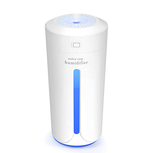 YinQin 230ML Portable USB Mini Air Humidifier 7 Color LED Lights Changing Mini Humidifier For Office Desk Bedroom Home Babies Kids Cars Cool Mist Mini Humidifier Travel Humidifier Quiet (White)