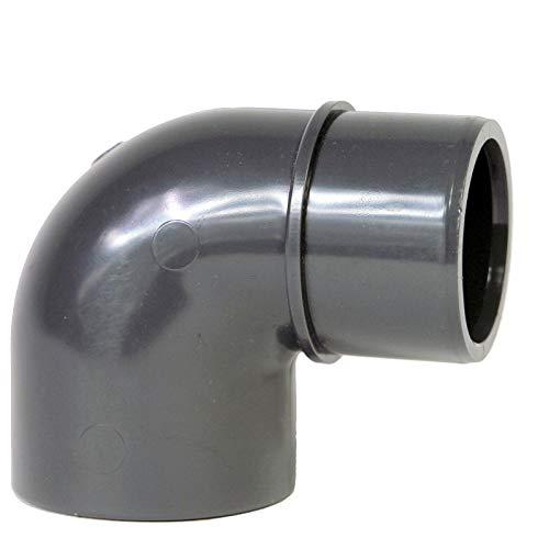 Paradies Pool GmbH PVC Fitting Winkel 90° Ø50mm Klebemuffe x Ø 40/50mm Klebestutzen, Qualität aus Europa, Menge: 2 Stück